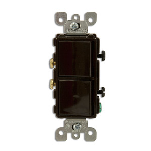 Leviton 5634 15A, 120V Comb. Decora Rocker (2) Switch, Brown