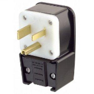 Leviton 9650-P 50 Amp Angle Plug, 250V, 6-50P, 2P3W, Black