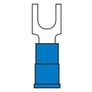 3M BFV14-6Q Block Fork Terminal, Vinyl Insulated, 16 - 14 AWG, #6 Stud, Blue