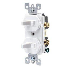 Leviton 5334-W Switch Combo, (2) 1-Pole, 20A, White