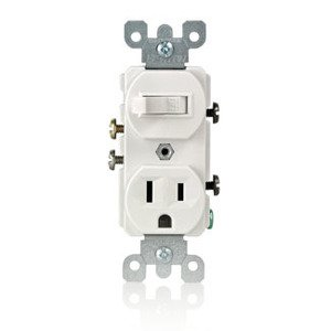 Leviton 5225-W Combination Toggle Switch / Duplex Receptacle, 15A, White