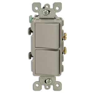 Leviton 5634-GY 15A, 120V Comb. Decora Rocker (2) Switch, Gray