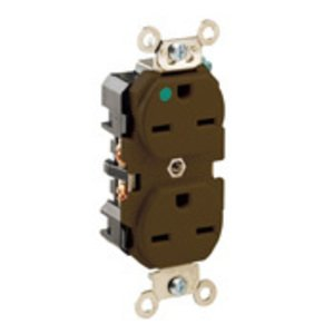 Leviton 8600 Hospital Grade Duplex Receptacle, 15A, 250V, Brown, Extra-Heavy Duty