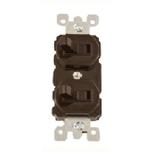 Leviton 5241 Combination Switch, 3-Way / 1-Pole, 15A, 120V, Brown