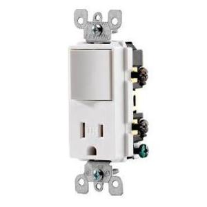 Leviton T5625-W Combination Rocker Switch / Receptacle, 15A, White