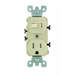 Leviton T5225-I Combination Toggle Switch / Receptacle, 15A, Ivory