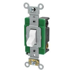 Leviton 3032-2W Double-Pole Toggle Switch, 30A, 120/277V, White, Specification Grade