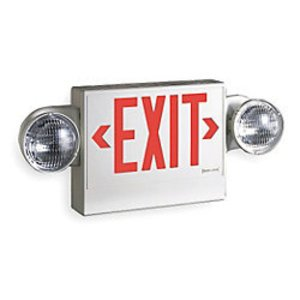 Sure-Lites LPX7DH Combo Exit Sign/Emergency Light, LED, 2-Head, Red Letters