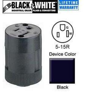 Leviton 5269-N 15 Amp Connector, 125V, 5-15R, 2-Piece, Nylon, Black