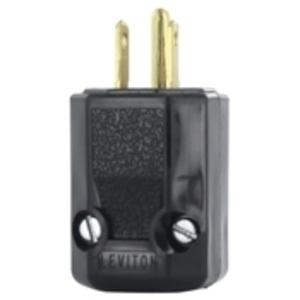 Leviton 5266-N 15 Amp 2-Piece Plug, 125V, 5-15P, Nylon, Black, Industrial Grade