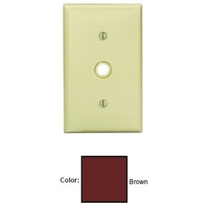 "Leviton 80718 Phone/Cable Wallplate, 1-Gang, .406"" Hole, Brown Nylon"