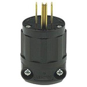 Leviton 5266-CB 15 Amp Plug, 125V, 5-15P, Nylon, All Black, Industrial Grade