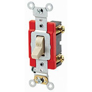 Leviton 1221-2GL Single-Pole Locking Switch, 20A, 120/277V, Gray, Industrial Grade
