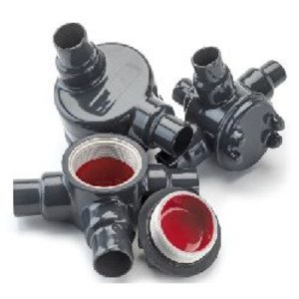 """Plasti-Bond PRGUAT69 PVC Coated Conduit Outlet Box, Type: GUAT, (3) 2"""" Hub, Aluminum"""