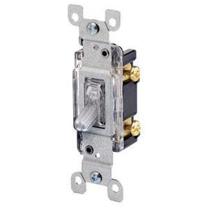 Leviton 1461-LHC Single-Pole Lighted Handle Switch, 15A, 120V, Clear, LIT WHEN OFF