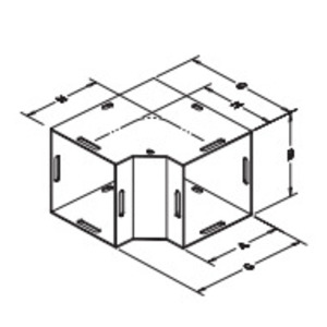 """Hubbell-Wiegmann L080890 Wireway 90° Elbow, Type 1, Combo Opening, 8"""" x 8"""", Steel, Gray"""