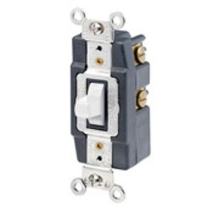 Leviton 1256-W Momentary Toggle Switch, 1-Pole, Double Throw, Center OFF, 15A, White