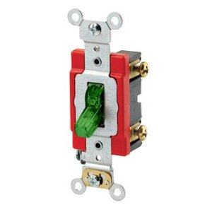 Leviton 1221-PLG Single-Pole Pilot Light Toggle Switch, 20A,120V, Green, LIT WHEN ON