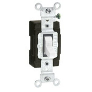 Leviton 5501-LHW Single-Pole Lighted Handle Switch, 15A, 120V, White, LIT WHEN OFF