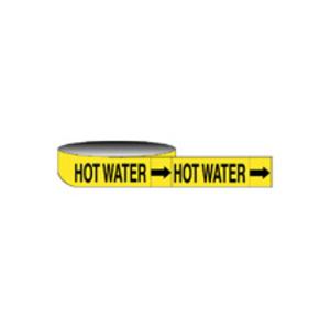 "Brady 20440 Economy HOT WATER Pipe Marker, 1"" x 8"""
