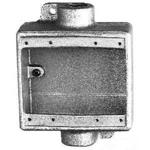"""Cooper Crouse-Hinds FDC222 FD Device Box, 2- Gang, Feed-Thru, Type FD, 3/4"""", Malleable Iron"""