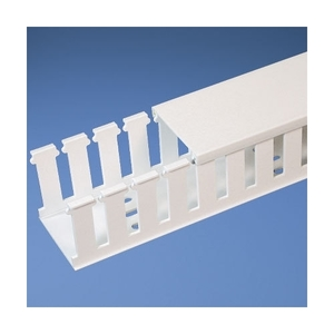 "Panduit NE4X4WH6 Halogen Free Slotted Wiring Duct, 4"" x 4"" x 6', White"
