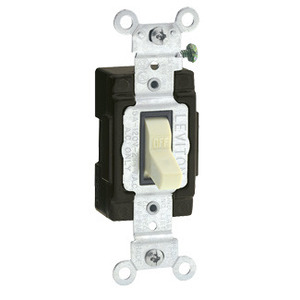 Leviton 5501-LHI Single-Pole Lighted Handle Switch, 15A, 120V, Ivory, LIT WHEN OFF