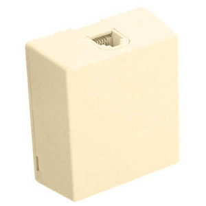 Leviton 4625A-24I Telephone, Surface Mount, 1 Port, Jack, 6P4C, Ivory, Type 625A2