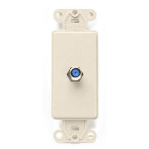 Leviton 40681-T Wallplate Insert, Decora, F-Connector, Light Almond