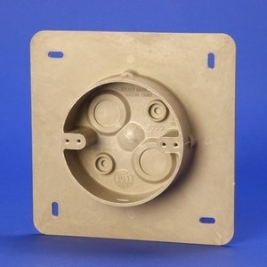 "Allied Moulded AC9500 4"" Round, Fixture Support Box, 7"" Square Mounting Flange, Depth: 1-1/4""  Non-Metallic"
