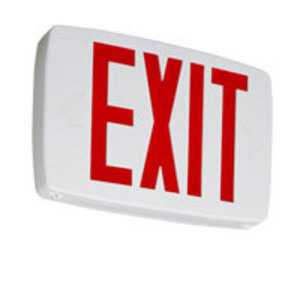 Lithonia Lighting LQMSW3R120/277ELN Exit Sign, LED, Single Face, Red Letters, 120/277V, .62/.69W