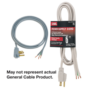 General Cable 02522.73.01 Power Supply Replacement Cord, 16/3 AWG, SPT-3, Black, 6'