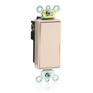 Leviton 5621-2T Decora Switch, 20A, 120/177V, 1-Pole, Light Almond, Back/Side Wired
