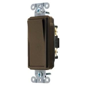 Hubbell-Wiring Kellems DS120 Decorator Rocker Switch, 20A, 120/277VAC, Brown