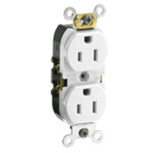 Leviton CR015-W 15 Amp Duplex Receptacle, 125V, 5-15R, White, Smooth Face