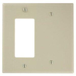 Leviton 80608-I Combo Wallplate, 2-Gang, Blank/Decora, Thermoset, Ivory, Midway