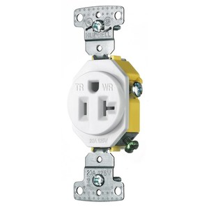 Hubbell-Wiring Kellems RR201WWRTR RESI SGL RCPT, 20A
