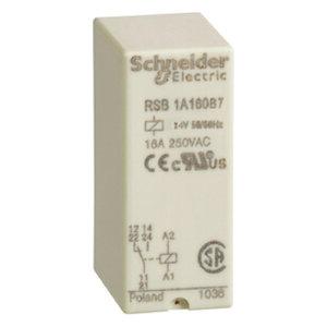 Square D RSB1A160B7 Relay, Plug-In, Interface, 16A, 250VAC, 28VDC, 24VAC Coil, 8 Blade