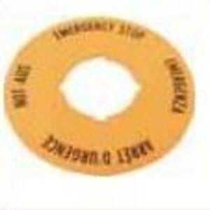 Eaton M22-XBK-ETCH Legend Plate, 60mm, Round Yellow, Custom Text