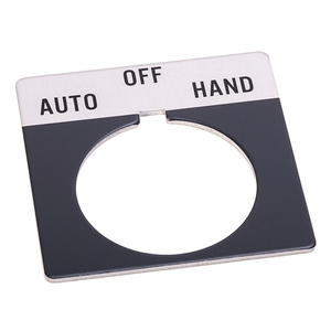 "Allen-Bradley 800T-X511 Legend Plate, Standard, 30mm, Gray w/Black Text ""HAND-OFF-AUTO"""