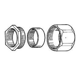 "Hubbell-Raco 1502 Rigid Three-Piece Coupling, 1/2"", Threaded, Malleable"