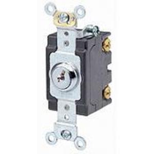 Leviton 1221-2KL Single-Pole Key Lock Power Switch, 20A, 120/277V, Nickel Plated