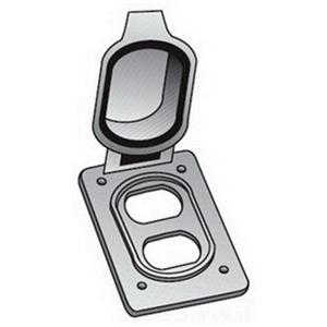 OZ Gedney FS-1-WDCA Duplex Cover, 1-Gang, Flip Cover, Aluminum