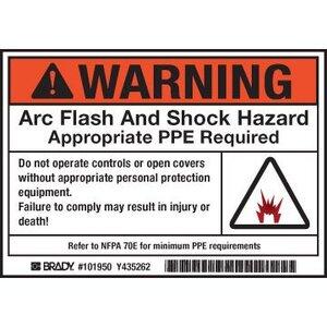 Brady 101950 Arc Flash/Shock Hazard Label