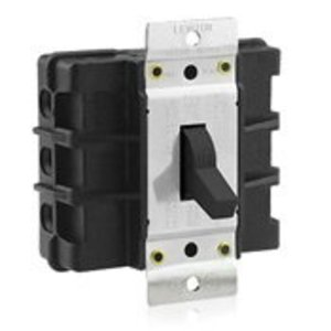 Leviton MS603-BW Manual Motor Switch, 60A, 600VAC, Short Toggle Style, 3P, Black
