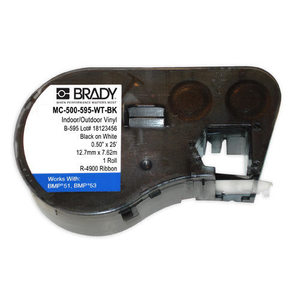 Brady MC-500-595-WT-BK Label Maker Cartridge, Indoor/Outdoor Vinyl