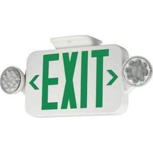 Hubbell-Dual-Lite CCG Combo Emergency/Exit Light, Universal Face, Green Letters, Canopy