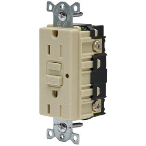 Hubbell-Kellems GFTR15I 15A 125V, 5-15R, With LED, Ivory