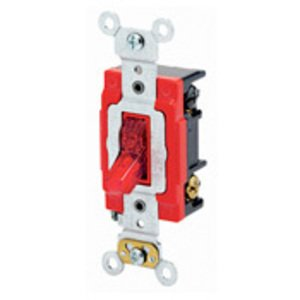 Leviton 1223-7PR 3-Way Pilot Light Toggle Switch, 20A, 277V, Red, LIT WHEN ON