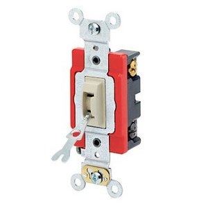 Leviton 1224-2IL 4-Way Locking Toggle Switch, 20A, 120/277V, Ivory, Industrial Grade